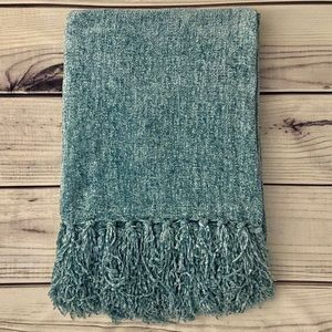 Pier 1 Teal Fringe Chenille Throw Blanket
